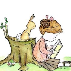 a small girl reading